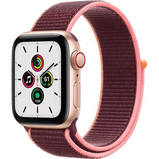 Apple Watch SE, 40mm, GPS + Cellular [2020] - Gold Aluminium Case with Plum Sport loop