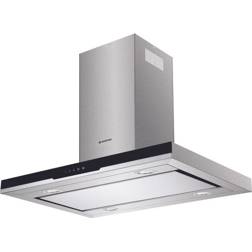 Hoover H-HOOD 700 HDSVI985B 90 cm Island Cooker Hood - Stainless Steel / Black Glass - A Rated
