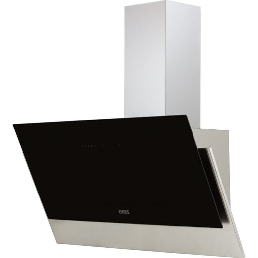 Zanussi ZFV919Y 90 cm Angled Chimney Cooker Hood - Black - C Rated