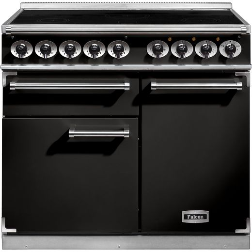 Falcon 1000 DELUXE F1000DXEIBL/C 100cm Electric Range Cooker with Induction Hob - Black - A/A Rated