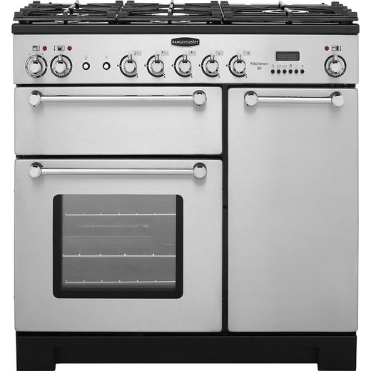Rangemaster Kitchener KCH90DFFSS/C 90cm Dual Fuel Range Cooker - Stainless Steel / Chrome - A/A Rated