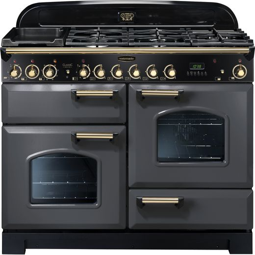 Rangemaster Classic Deluxe CDL110DFFSL/B 110cm Dual Fuel Range Cooker - Slate Grey / Brass - A/A Rated
