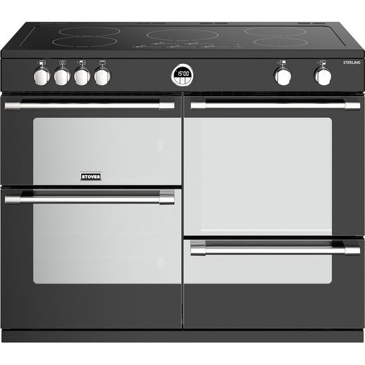 Stoves Sterling S1100EI 110cm Electric Range Cooker with Induction Hob - Black - A/A/A Rated