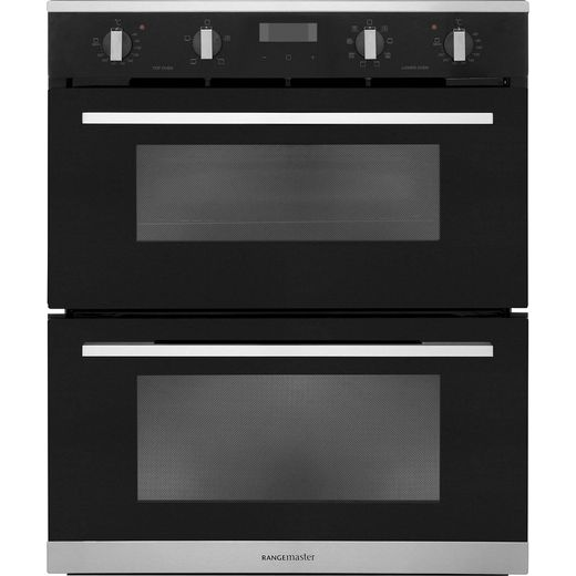 Rangemaster RMB7248BL/SS Built Under Electric Double Oven - Black - A/A Rated