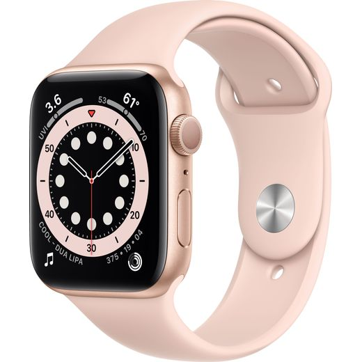 Apple Watch Series 6, 44mm, GPS [2020] - Gold Aluminium Case with Pink Sand Sport Band