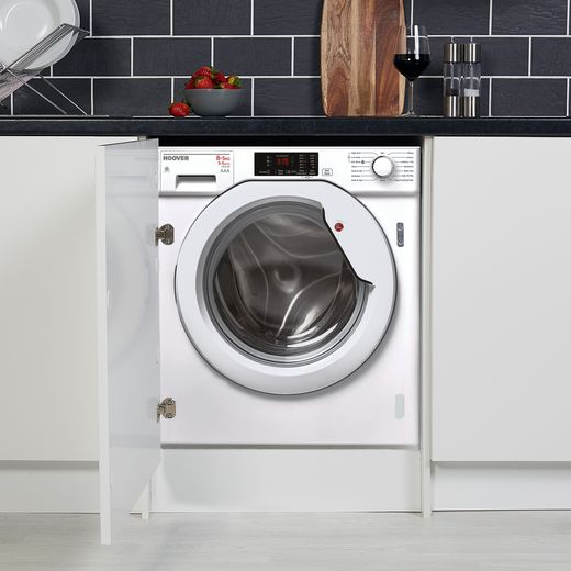 Hoover H-WASH 300 HBWD8514DC Integrated 8Kg / 5Kg Washer Dryer with 1400 rpm - White / Chrome - A Rated