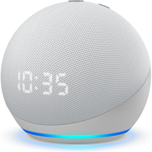 Amazon Echo Dot (4th Gen) with Clock Smart Speaker with Amazon Alexa - White