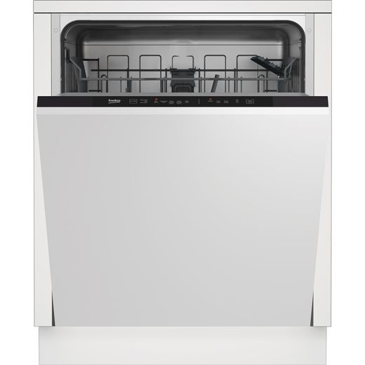 Beko DIN15R20 Fully Integrated Standard Dishwasher - Silver Control Panel with Fixed Door Fixing Kit - E Rated