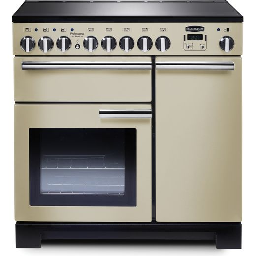 Rangemaster Professional Deluxe PDL90EICR/C 90cm Electric Range Cooker with Induction Hob - Cream / Chrome - A/A Rated