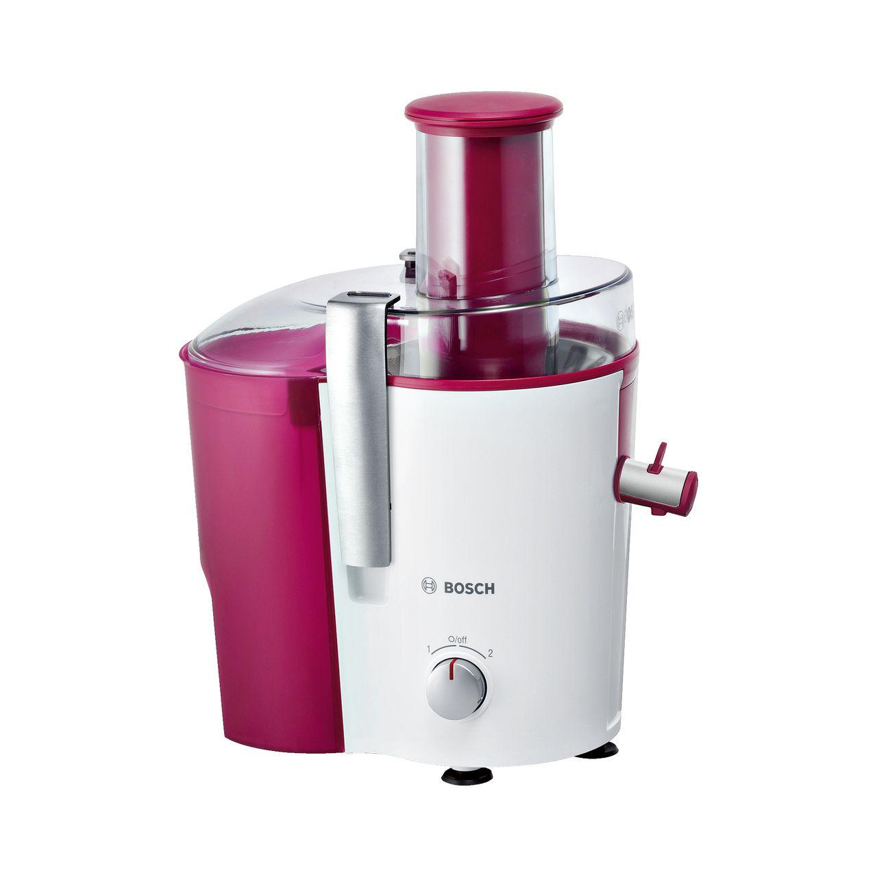 Bosch VitaJuice 2 MES25C0 Entsafter mit Edelstahlfilter und DripStop Weiß Violett