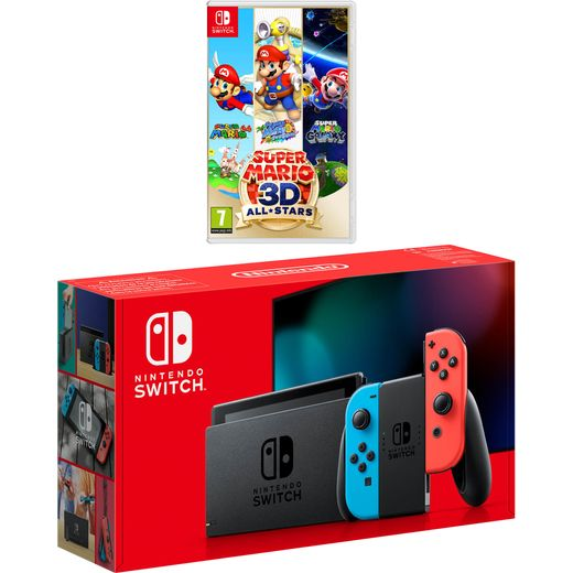Nintendo 32GB with Super Mario 3D All-Stars - Neon Red/Blue