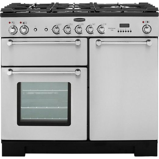 Rangemaster Kitchener KCH100DFFSS/C 100cm Dual Fuel Range Cooker - Stainless Steel / Chrome - A/A Rated