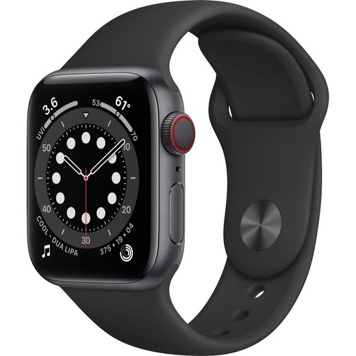 Apple Watch Series 6, 40mm, GPS + Cellular [2020] - Space Grey Aluminium Case with Black Sport Band