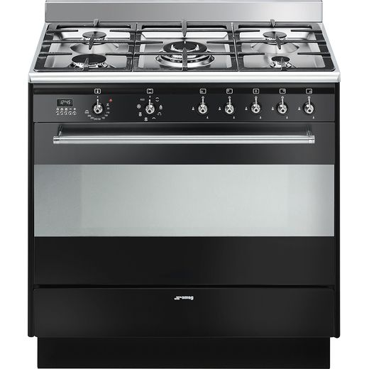 Smeg Concert SUK91MBL9 90cm Dual Fuel Range Cooker - Black - A Rated
