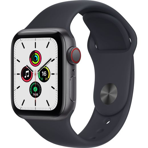 Apple Watch SE, 40mm, GPS + Cellular [2021] - Space Grey Aluminium Case with Midnight Sport Band