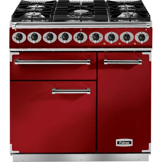 Falcon 900 DELUXE F900DXDFRD/NM 90cm Dual Fuel Range Cooker - Cherry Red - A/A Rated