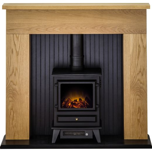 Adam Fires Innsbruck Suite with Hudson Electric Fire 21881 Log Effect Suite And Surround Fireplace - Oak