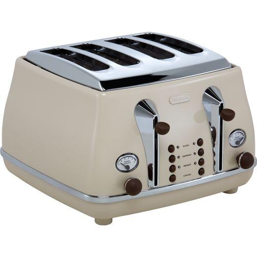 De'Longhi Icona Vintage CTOV4003.BG 4 Slice Toaster - Beige