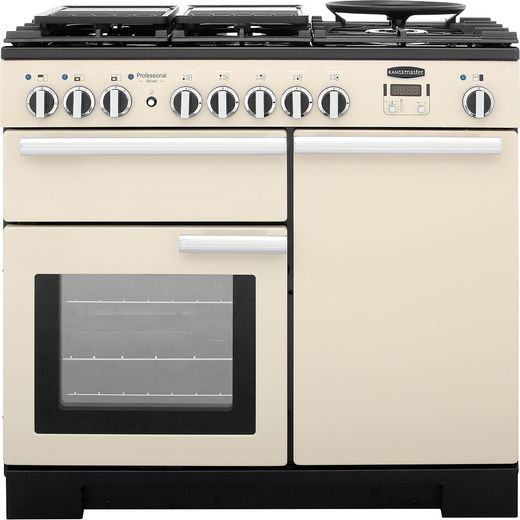 Rangemaster Professional Deluxe PDL100DFFCR/C 100cm Dual Fuel Range Cooker - Cream - A/A Rated
