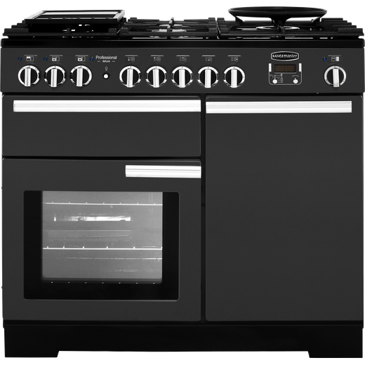 Rangemaster Professional Deluxe PDL100DFFSL/C 100cm Dual Fuel Range Cooker - Slate - A/A Rated
