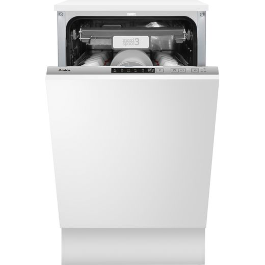 Amica ADI460 Fully Integrated Slimline Dishwasher - Silver Control Panel with Fixed Door Fixing Kit - E Rated