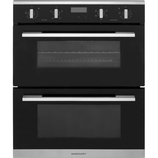 Rangemaster RMB7245BL/SS Built Under Electric Double Oven - Black - A/A Rated