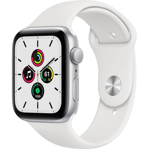 Apple Watch SE, 44mm, GPS [2020] - Silver Aluminium Case with White Sport Band
