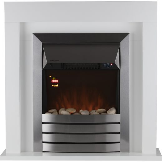Warmlite Chester WL45041W Pebble Bed Suite And Surround Fireplace With Remote Control - Stainless Steel / White