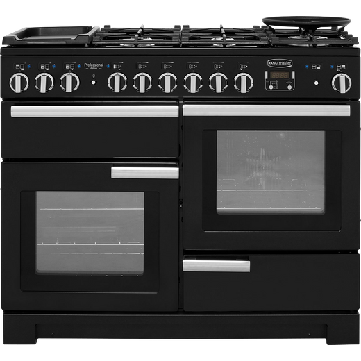 Rangemaster Professional Deluxe PDL110DFFGB/C 110cm Dual Fuel Range Cooker - Black - A/A Rated