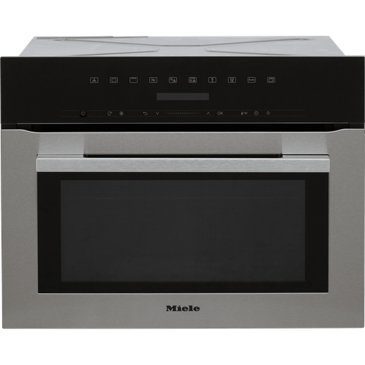 Miele H7140BM Wifi Connected Built In Compact Electric Single Oven with Microwave Function - Clean Steel
