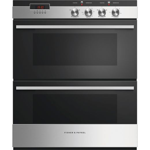Fisher & Paykel Designer OB60HDEX4 Built Under Electric Double Oven - Black / Stainless Steel - A/A Rated