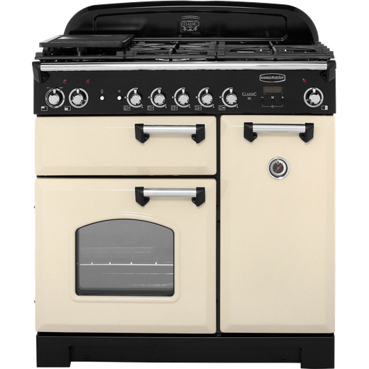 Rangemaster Classic CLA90DFFCR/C 90cm Dual Fuel Range Cooker - Cream / Chrome - A/A Rated