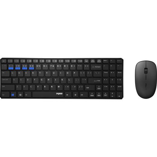 Rapoo 9300M Multi-mode Ultra-Slim Desktop Combo Bluetooth / Wireless USB Keyboard with Optical Mouse - Black