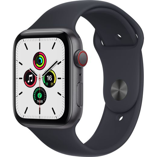 Apple Watch SE, 44mm, GPS + Cellular [2021] - Space Grey Aluminium Case with Midnight Sport Band