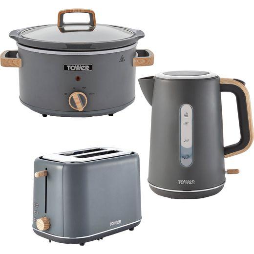 Tower Scandi AOBUNDLE027 Kettle And Toaster Set - Grey