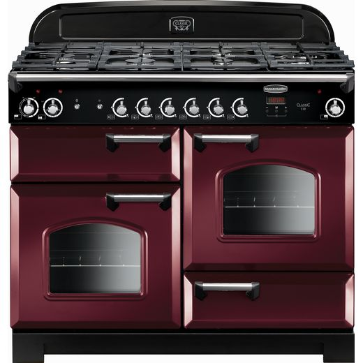 Rangemaster Classic CLA110DFFCY/C 110cm Dual Fuel Range Cooker - Cranberry / Chrome - A/A Rated