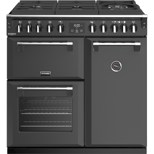 Stoves Colour Boutique Collection Richmond Deluxe S900DF GTG CB 90cm Dual Fuel Range Cooker - Anthracite - A Rated