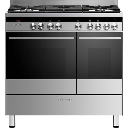 Fisher & Paykel Designer OR90L7DBGFX1 90cm Dual Fuel Range Cooker - Stainless Steel - B/B Rated