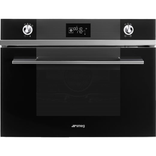 Smeg Linea SF4102VCN Built In Compact Electric Single Oven with added Steam Function - Black - A+ Rated