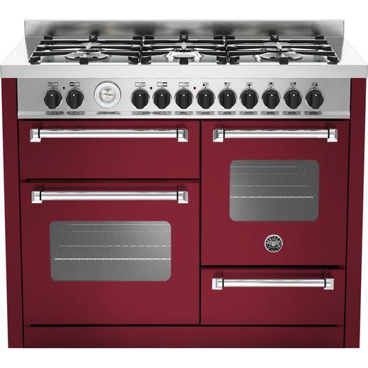 Bertazzoni Master Series MAS110-6-MFE-T-VIE 110cm Dual Fuel Range Cooker - Burgundy - A/A Rated