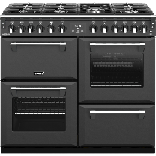 Stoves Colour Boutique Collection Richmond Deluxe S1000DF CB 100cm Dual Fuel Range Cooker - Anthracite - A Rated