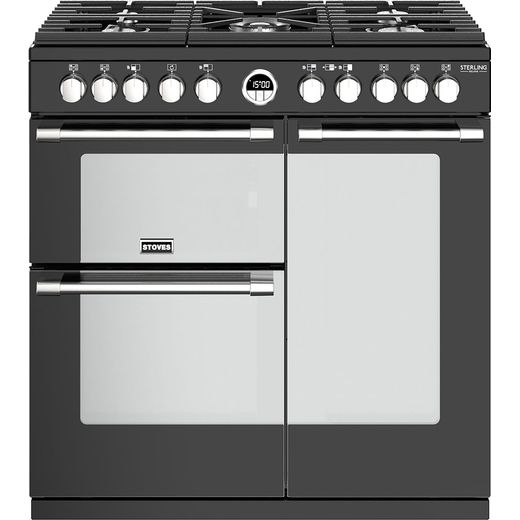 Stoves Sterling Deluxe S900DF 90cm Dual Fuel Range Cooker - Black - A/A/A Rated
