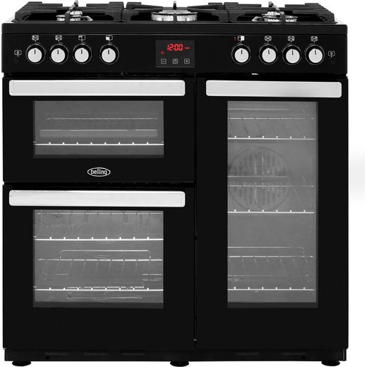 Belling Cookcentre90G 90cm Gas Range Cooker with Electric Fan Oven - Black - B/A Rated