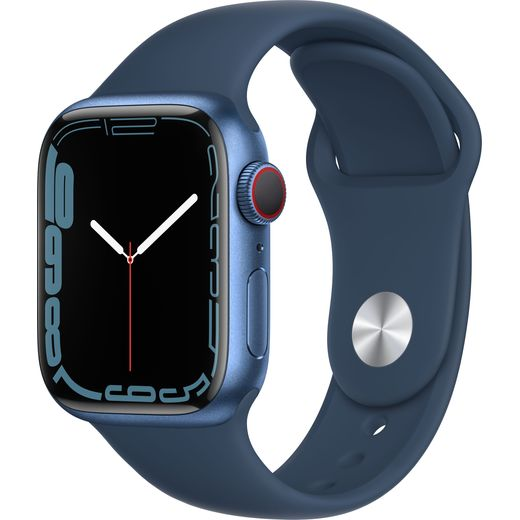 Apple Watch Series 7, 41mm, GPS + Cellular [2021] - Blue Aluminium Case with Abyss Blue Sport Band