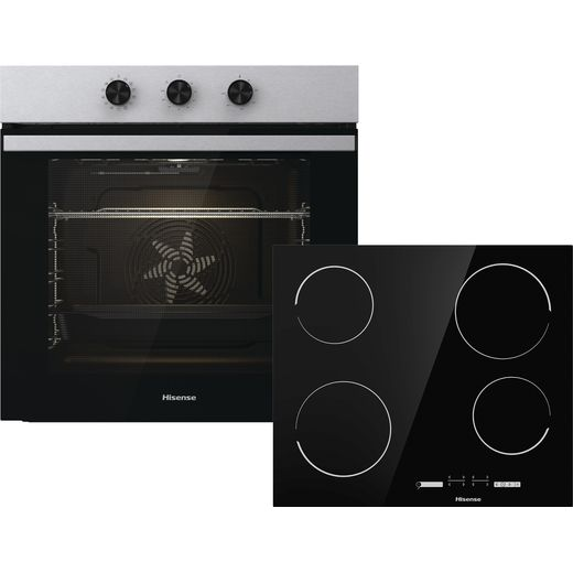 Hisense BI6061CXUK Built In Electric Single Oven and Ceramic Hob Pack - Stainless Steel - A Rated