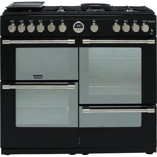 Stoves Sterling Deluxe S1000G 100cm Gas Range Cooker with Electric Grill - Black - A+/A/A Rated