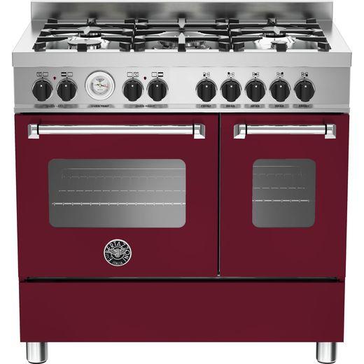Bertazzoni Master Series MAS90-5-MFE-D-VIE 90cm Dual Fuel Range Cooker - Burgundy - A+/A Rated