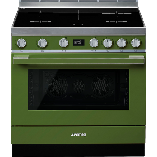 Smeg Portofino CPF9iPOG 90cm Electric Range Cooker with Induction Hob - Olive Green - A+ Rated