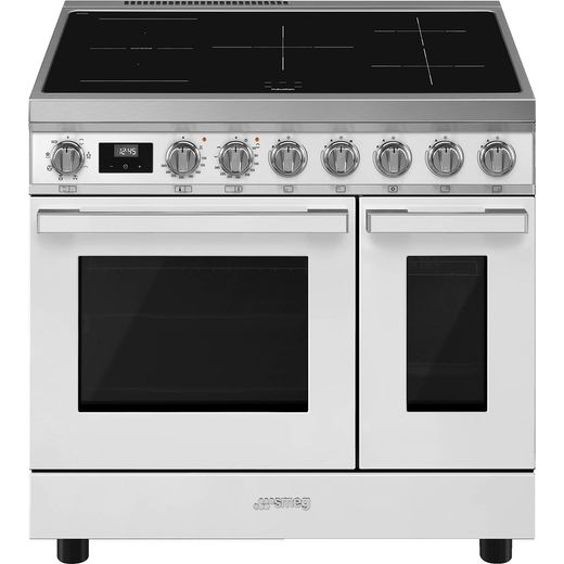 Smeg Portofino CPF92IMWH Electric Range Cooker with Zone induction Hob - White - A Rated
