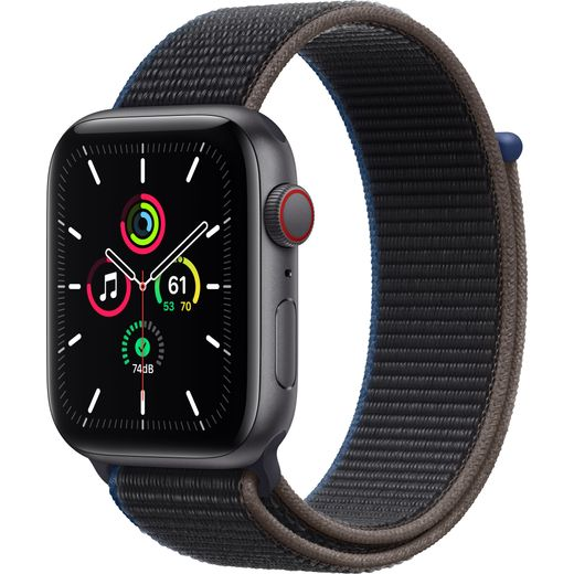 Apple Watch SE, 44mm, GPS + Cellular [2020] - Space Grey Aluminium Case with Charcoal Sport Loop